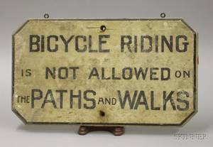 Painted Wooden Sign Bicycle Riding is Not Allowed on the Paths and Walks