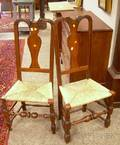 Pair of Queen Anne Carved Maple Side Chairs with Woven Rush Seats