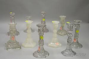 Pair of Clambroth Pressed Pattern Glass and Eight Colorless Pressed Pattern Glass Candlesticks