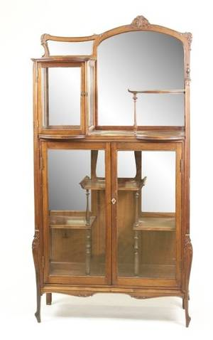 French Art Nouveau Style Mirrored Vitrine Cabinet