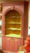Chippendalestyle Redpainted Wooden Corner Cupboard