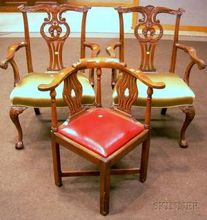 Pair of Chippendalestyle Carved Mahogany Armchairs and a Smith  Watson Chippendalestyle Mahogany Corner Chai