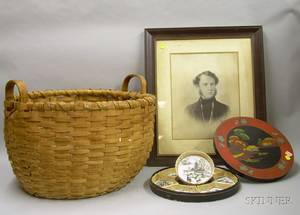 Large Woven Splint Gathering Basket a Framed Print of a Gentleman and an Asian Lacquered Condiment Set