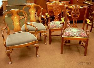 Pair of Smith  Watson Queen Anne Style Carved Mahogany and Burl Veneer Armchairs and a Pair of Chippendale Roc