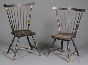 Two Similar Blackpainted Windsor Fanback Side Chairs