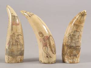 Five Scrimshaw Decorated Whales Teeth a Scenic Decorated Whale Bone Panel and and Four Decorated Whale Bone Wax Seal Stamps