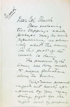 John Pershing signed handwritten letter dated Dec 27 1915
