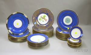 Assembled Fortyseven Piece Wedgwood and Copeland Spode Gilt Banded and Decorated Porcelain Dinner Service