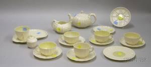 Eighteen Pieces of Belleek Limpet Pattern Porcelain Tea and Tableware