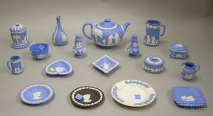 Seventeen Pieces of Mostly Modern Wedgwood Solid Light Blue Jasper Table Items