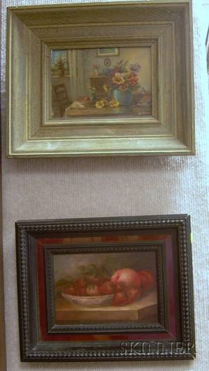 Lot of Two Framed 20th Century American School Oil on Board Still Lifes