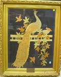 Framed Needlework Panel Depicting a Peacock on the Garden Fence