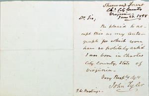 John Tyler signed handwritten letter