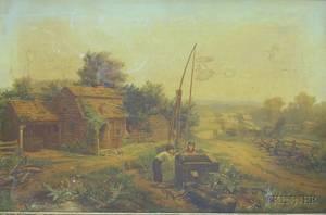 Victorian Carved Walnut Framed Farm Landscape Print