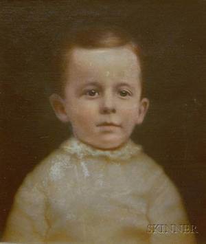 Framed 19th Century Oil on Canvas Portrait of a Young Boy