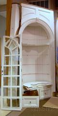 Large Federalstyle Glazed Whitepainted Wooden Barrelback Builtin Corner Cupboard