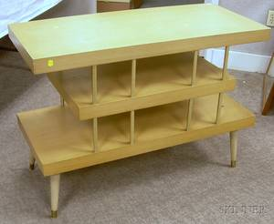 Midcentury Modern Brassmounted Blondewood Tiered End Table