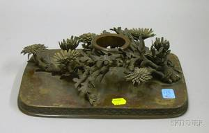 Japanese Bronze Figural Flower Holder