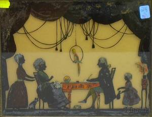Framed Reversepainted Silhouette on Glass Depicting an Early 19th Century Family Parlor Scene