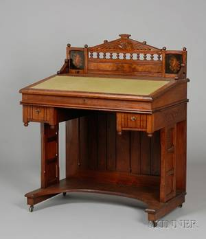 Victorian Gothic Revival Carved Walnut and Burl Veneer Lifttop Writing Desk