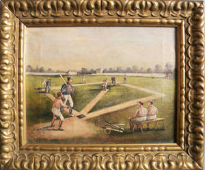 Contemporary oil on canvas of a baseball game