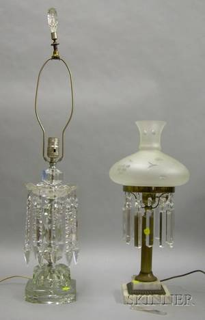 Giltbrass and Marble Table Lamp with Colorless Frosted and Etched Glass Shade and Prisms and a Colorless Press