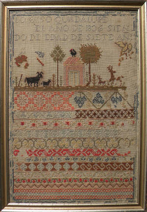 Spanish wool and linen sampler dated 1836