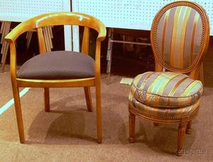 Neoclassicalstyle Upholstered Blondewood Armchair and a Louis XVI Style Upholstered Carved Maple Slipper Chair