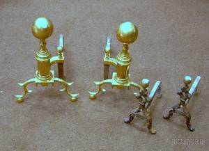 Pair of Brass Balltop Andirons and a Pair of Brass Balltop Mounted Cast Iron Andirons