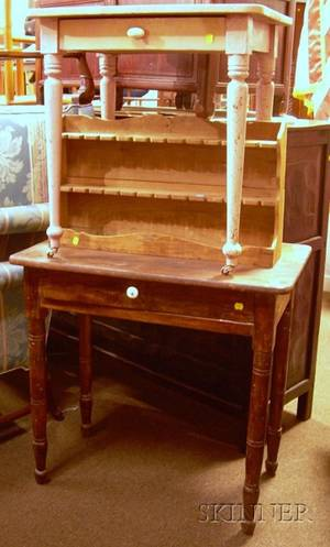 19th Century Pine Dressing Table a Diminutive Painted Wooden OneDrawer Side Table and a Pine Wall Spoon Rack