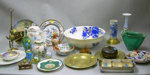 Large Lot of Assorted Decorative Ceramic Metal and Glass Table Items
