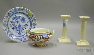 Four Pieces of Continental Decorated Ceramic Tableware