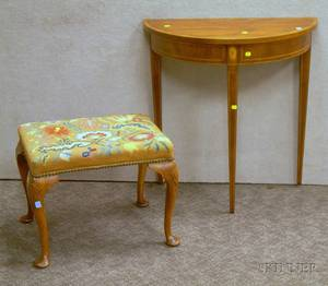 Federalstyle Inlaid Mahogany and Mahogany Veneer Demilune Side Table and a Queen Anne Style Floral Needlepoint