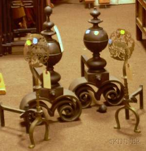 Pair of Jacobeanstyle Brass Andirons and a Pair of Arts  Crafts Pierced Brass Medalliontop Andirons