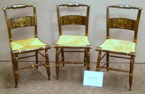 Assembled Set of Six Hitchcocktype Grained and Stencil Decorated Side Chairs with Woven Rush Seats