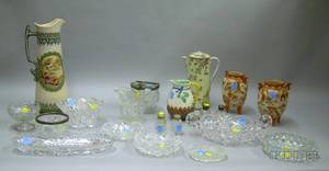 Fifteen Pieces of Colorless Cut and Pressed Glass Tableware and Five Pieces of Assorted Decorated Ceramics