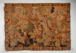 Continental Aubussontype Woven Wool Tapestry Depicting Figures in a Forest Landscape