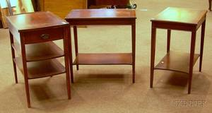 Pair of Georgianstyle Mahogany and Mahogany Veneer End Tables with Leatherinset Tops and a Federalstyle Inla