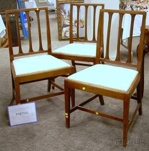 Set of Four Regency Carved Mahogany Side Chairs with Upholstered Slip Seats