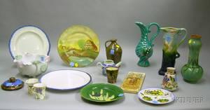 Seventeen Pieces of Assorted Decorated Ceramics