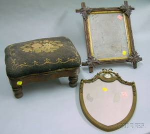 Victorian Walnut Mirror a Giltgesso Mirror with Jasper Medallion and an Empire Needlepoint Upholstered Foots