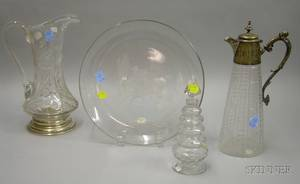Four Colorless Glass Table and Serving Items