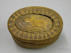 Asian Woven Basket with Woven and Carved Wooden Cover