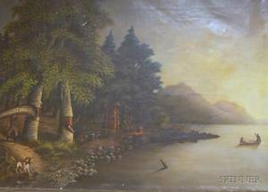 Unframed 19th Century American School Oil on Canvas of an Encampment by a Lake