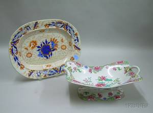 Continental Chinesestyle Decorated Ceramic Footed Dish and a Chinese Export Porcelain Imari Palette Platter