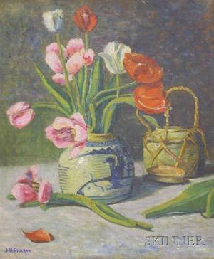 Framed Oil on Canvas Still Life with Tulips