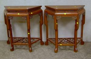 Pair of Chinese Export Carved Hardwood Side Tables