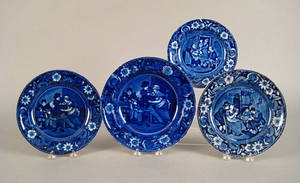 Three blue Staffordshire plates together with a soup plate 19th c