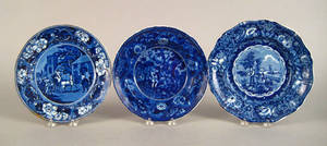 Two blue Staffordshire plates together with a soup bowl 19th c
