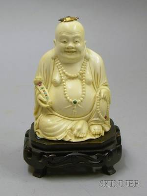 Carved Ivory Buddha on Stand